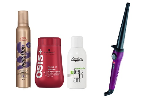 Wella  Пенка для укладки Wellaflex, Schwarzkopf Professional Пудра для волос Osis+,L'Oreal Professionnel текстурирующий лак-спрей Tecni.art Constructo, Remington Стайлер для волос CI-52W0