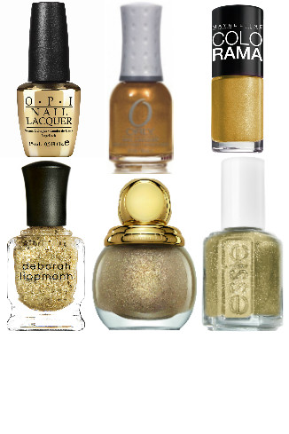 Лаки для ногтей: «The Man With The Golden Gun» от OPI 890 руб. «Solid Gold» от Orly, 670 руб. Colorama от Maybelline NY, 99 руб. Deborah Lippmann, 800 руб. «Diorific Vernis» от Dior, 900 руб. «Golden Nuggets» от Essie, 210 руб.