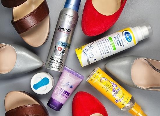 Oriflame Спрей-антиперспирант для ног 24-часового действия «Актив- уход», ДЕОконтроль Дезодорант для ног, Yves Rocher Крем-дезодорант для ног «12 Часов», Scholl Дезодорант для обуви Odour Control, Oriflame Спрей-дезодорант для ног «Лимон и Лаванда»