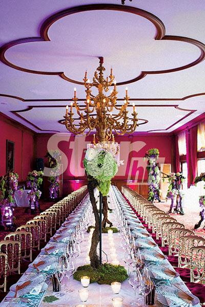 Зал торжества был украшен живой виноградной лозой