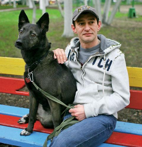 Константин Хабенский  и собака Фрося