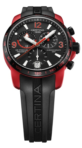 Модель часов Certina в красном цвете и с черным ремешком