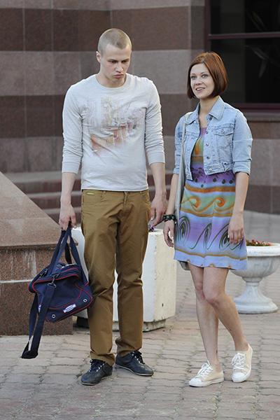 Мария Пирогова и Иван Жвакин на съемках «Молодежки»