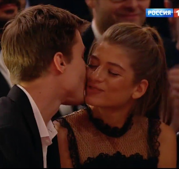 Актер Иван Янковский и Александра Новикова на премии «Золотой орел»
