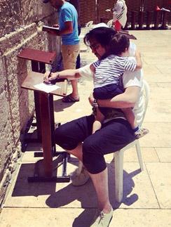 Филипп с сыном Мартином у Стены Плача в Иерусалиме