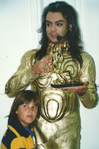 Маленький Михаил с Филиппом на вручении премии «Золотой Орфей». Август 1998 год