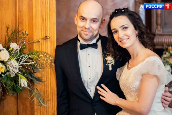 Валерия Ланская с мужем Стасом Ивановым в день свадьбы, март 2015