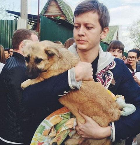Волонтеры на руках выносят обессиленных животных