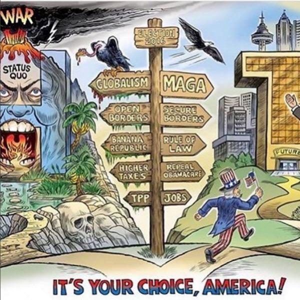 Справа стрелки, указывающие на направления политики Трампа