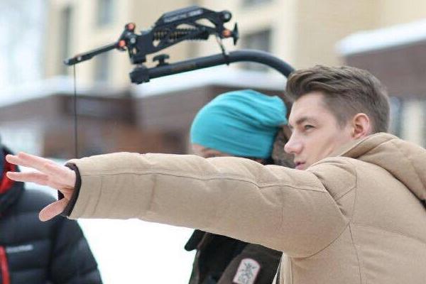 Алексей Воробьев во время съемочного процесса