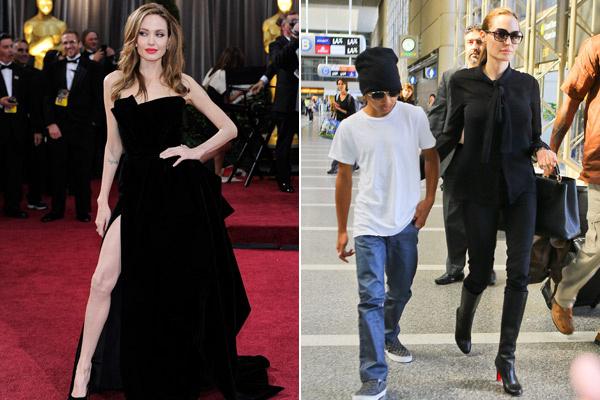 И на ковровой дорожке, и в обычной жизни Джоли предпочитает черный цвет в одежде