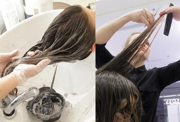 Процесс окрашивания и стрижка.