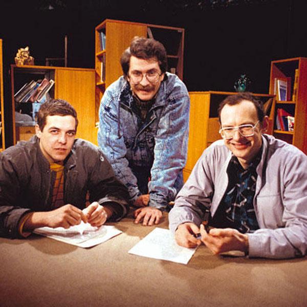 Ведущие программы «Взгляд» Александр Любимов, Владислав Листьев и Дмитрий Захаров