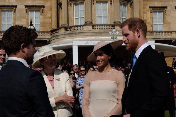 Гарри и Меган общаются с гостями мероприятия