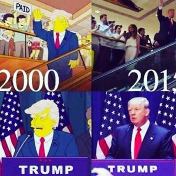 Рисованный в «Симпсонах» Дональд Трамп и настоящий