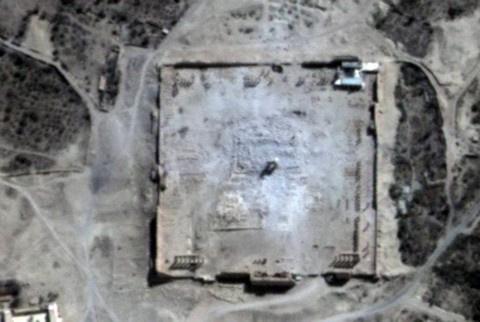 Вид со спутника на Храм Бэла после взрыва