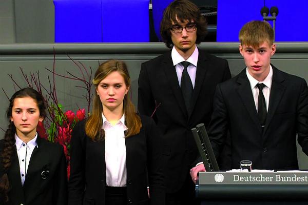 Выступление Николая Десятниченко (крайний справа) в Бундестаге