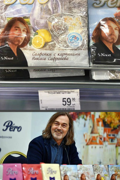Салфетки с изображением картин художника теперь продаются во многих супермаркетах страны