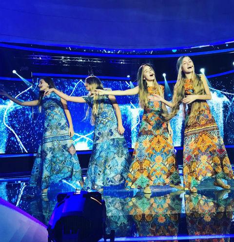 Участницы детского «Евровидения» от России София Фисенко, сестры Кристина и Мадонна Абрамовы, а также Александра Абрамейцева