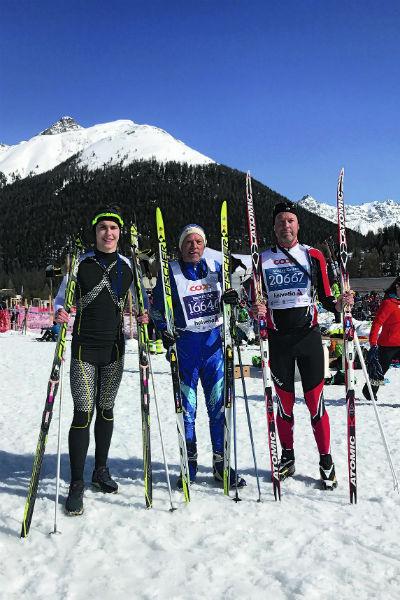Борис Николаевич с внуком Федором и сыном Николаем на гонке в Швейцарии
