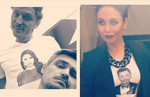 Ляйсан Утяшева и Павел Воля в футболках с изображением друг друга