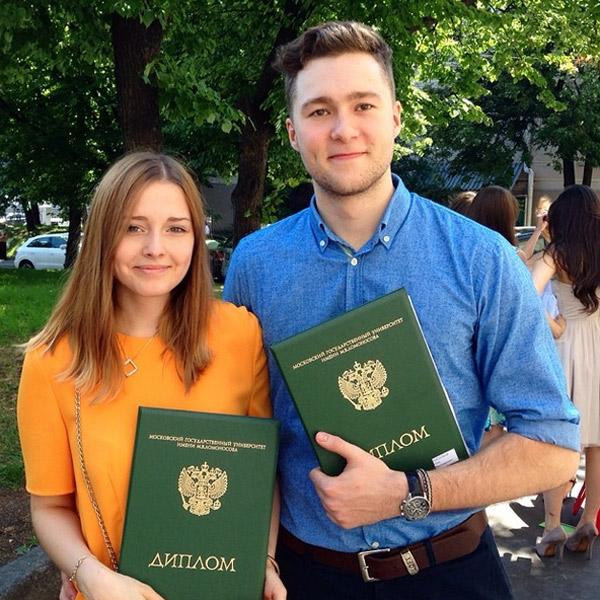 Полина и Олег в день получения дипломов