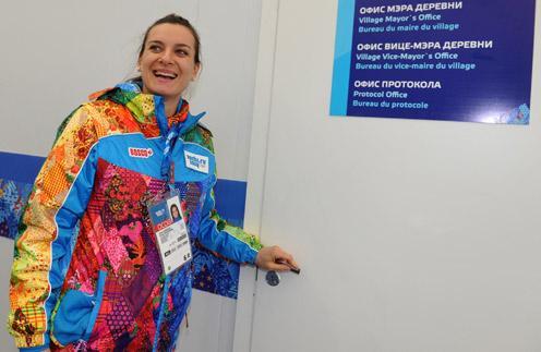 Елена Исинбаева в Олимпийской деревне