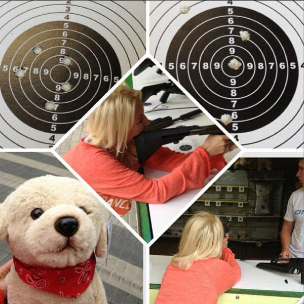 Кудрявцева оказалась неплохим стрелком: она показала отличный результат и выиграла плюшевую игрушку