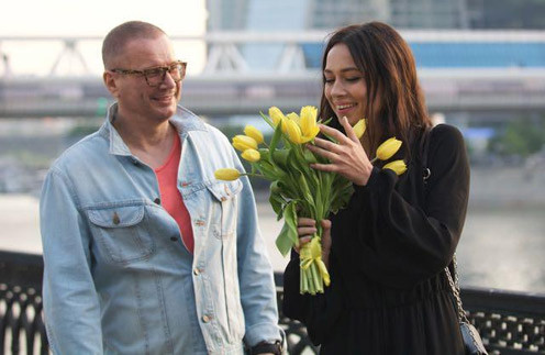 Андрей Ковалев и Настасья Самбурская на съемках клипа