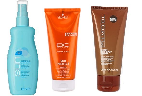 Avon Охлаждающий спрей после загара Sun+, Schwarzkopf BC Шампунь для волос защищающий от воздействия солнца, Paul Mitchel Шампунь для защиты окрашенных волос от воздействия солнца