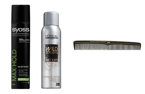 Syoss Лак для волос Max Hold, L'Oreal Professionnel Минеральный фиксирующий спрэй Crepage De Chignon, Acca Kappa Расческа для волос