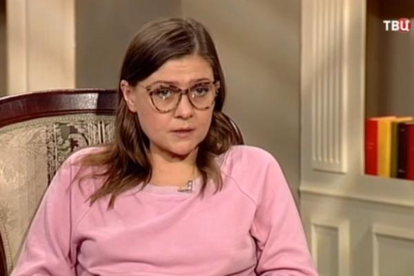 Мария Голубкина в студии передачи канала ТВЦ