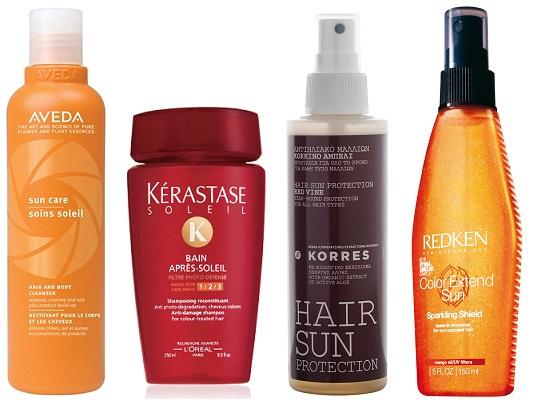 Aveda Шампунь для волос и тела Sun Care, Kerastase Ванна для волос Soleil, Korres Солнцезащитный спрей для волос Hair Sun, Redken Солнцезащитный спрей для волос Color Extend Sun