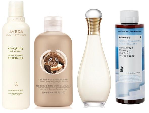 Aveda Гель для душа Energizing, The Body Shop Крем-гель для душа «Бразильский орех», Dior Гель для душа J'Adore