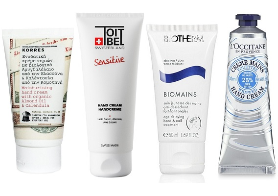 Korres Крем для рук с миндальным маслом и календулой, ToitBel Крем для рук Edelweiss, BIOTHERM Крем для рук Biomains,  L'Occitane Крем-суфле для рук Карите