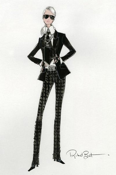 Эскиз куклы Барби в образе Карла Лагерфельда