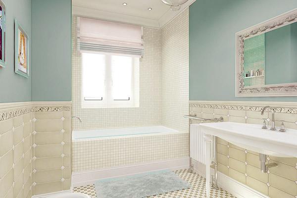 Ванная выдержана в пастельных тонах