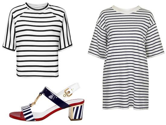 Блузка Reserved, Платье-футболка Eto, Босоножки Loriblu