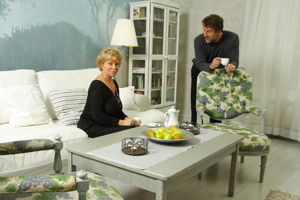Леонид с женой Оксаной в своем подмосковном доме, 2008 год