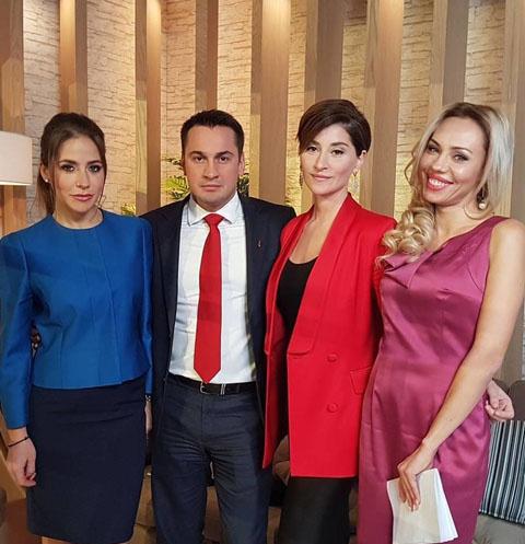 Юлия Барановская, Дмитрий Носов, Софико Шеварнадзе и Елена Абитаева