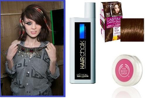 Модель Ashish 2014.Краска Casting creme gloss #403, Цветной мелок для волос The body shop Tickle me pink, Макияж для волос L'oreal hair Chalk Blue ocean