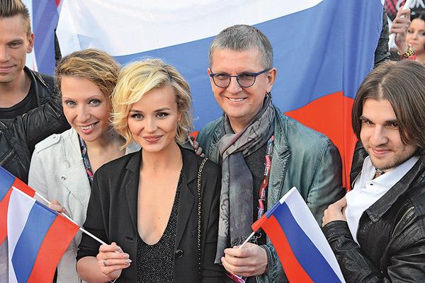 Российская команда «Евровидения»: Яна Чурикова, Полина Гагарина и Юрий Аксюта