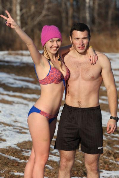 «На проруби» Ольга и Артем любят проводить выходные и праздники
