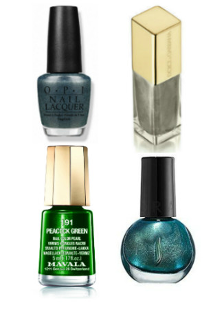 Лаки для ногтей: OPI James Bond, On Her Majesty's Secret, 369 руб. Dolce&Gabbana, №90 Platinum, 1119 руб. Mavala, Peacock green, 204 руб. Sephora, N°50 Metal Summer in Bangkok Shade, 200 руб.