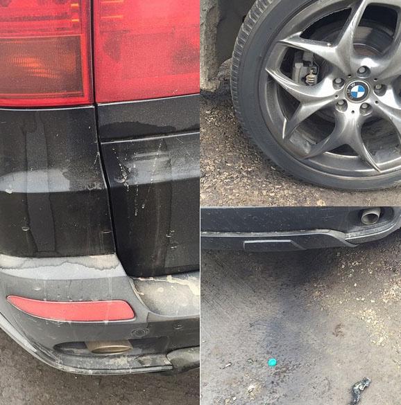 Неизвестные облили бензином багажник и кинули горящую бутылку под бак БМВ, принадлежащего Михаилу Терехину