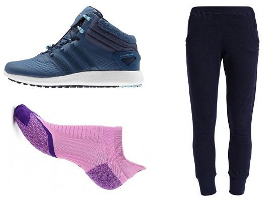 Утепленные кроссовки для бега Adidas Climaheat Rocket Boost MC, Носки Nike, Зимние спортивные брюки Roxy