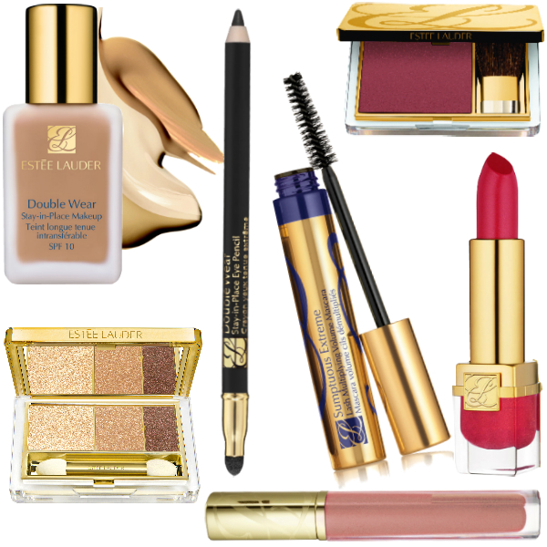 Косметика Estee Lauder: Крем-пудра Double Wear, Fresco, 2100 руб. Тени для век Pure Color Metallics, Beach Metals, 2300 руб. Карандаш для контура глаз Double Wear, Onyx, 1200 руб. Тушь Sumptuous Extreme, Extreme Black, 1650 руб. Румяна Pure Color, Hot Sienna, 2100 руб. Лак для губ Pure Color, Peach Glass, 1350 руб. Помада Pure Color Vivid Shine, Forbidden Apple, 1550 руб.