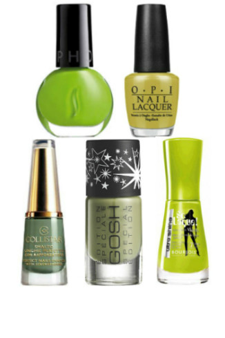 Лак для ногтей: Sephora, Lime coctail, 200 руб. OPI Germany, Don't Talk Bach to Me, 369 руб. Collistar, Khaki, 569 руб. Gosh, Lazy Green, 316 руб. Bourjois So Laque Ultra Shine, №38, 269 руб.