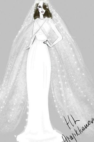 Этот эскиз свадебного платья для Сати нарисовала в октябре ее подруга-дизайнер