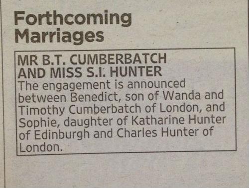 Бенедикт Камбербэтч дал объявление о помолвке в газете. Никаких других официальных заявлений он не делал